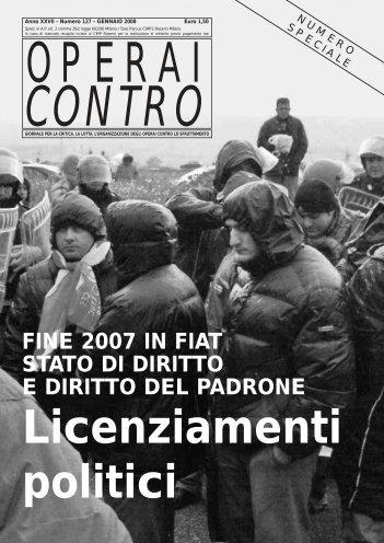 FINE 2007 IN FIAT STATO DI DIRITTO E DIRITTO DEL PADRONE