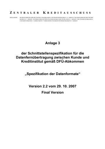 Schnittstellenspezifikation DFÜ-Abkommen