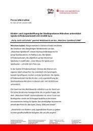 Kinder- und Jugendstiftung der Stadtsparkasse München unterstützt ...