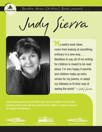 Judy Sierra's printable Author Bio - Random House