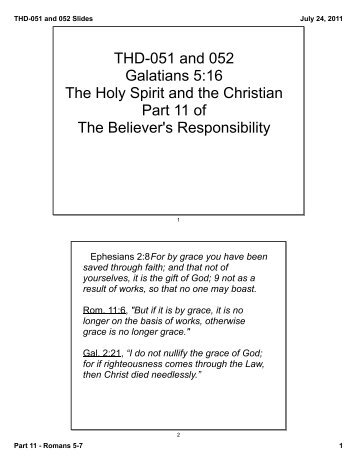 THD-051 and 052 Galatians 5:16 The Holy Spirit and ... - Living Word