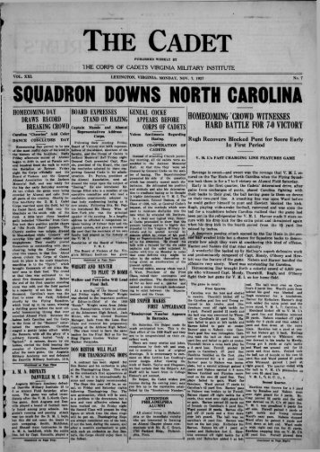 The Cadet. VMI Newspaper. November 07, 1927 - New Page 1 ...