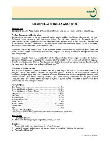 Salmonella Shigella Agar Product Information Page