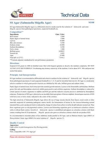 SS Agar (Salmonella Shigella Agar) - HiMedia Laboratories