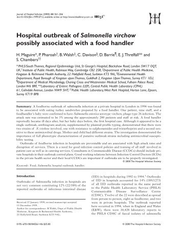 Hospital outbreak of Salmonella virchow possibly associated wit a ...