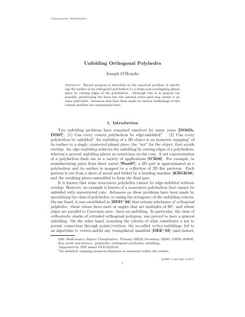 Unfolding Orthogonal Polyhedra - Smith College Department of ...