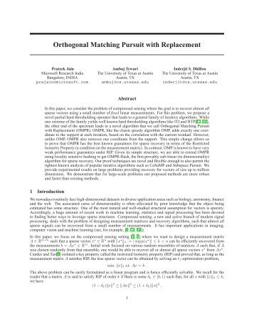 Orthogonal Matching Pursuit with Replacement - Statistics