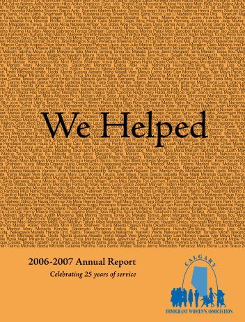 2006-2007 Annual Report - Calgary Immigrant Women's Association