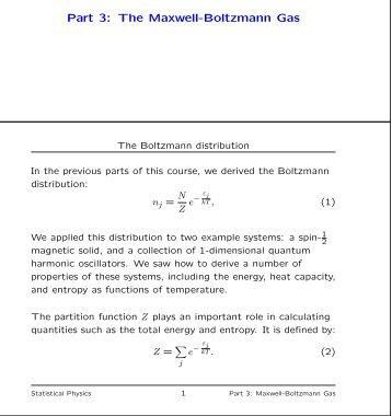 Part 3: The Maxwell-Boltzmann Gas