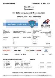 Startliste - Regionalverband Schneesport Mittelland