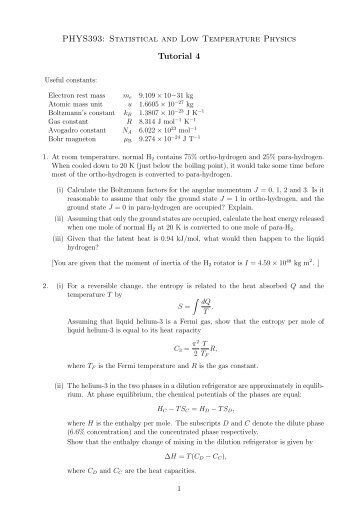 PHYS393: Statistical and Low Temperature Physics Tutorial 4