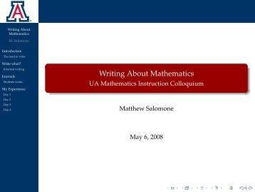 Writing About Mathematics - UA Mathematics ... - Webhost Bridgew