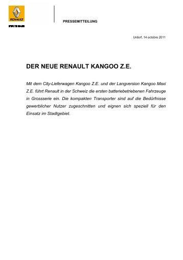 DER NEUE RENAULT KANGOO Z.E. - Renault Zürich SA