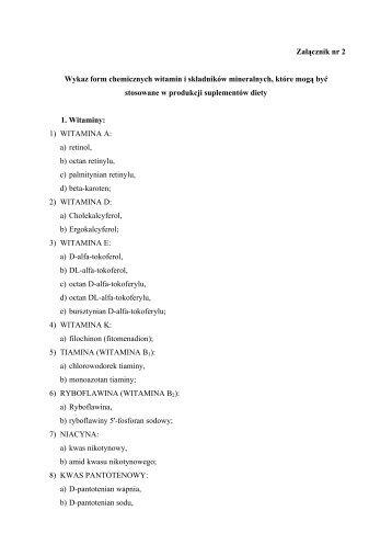 Załącznik nr 2 Wykaz form chemicznych witamin i składników ...