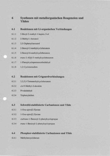 6 Synthesen mit metallorganischen Reagenzien und Yliden