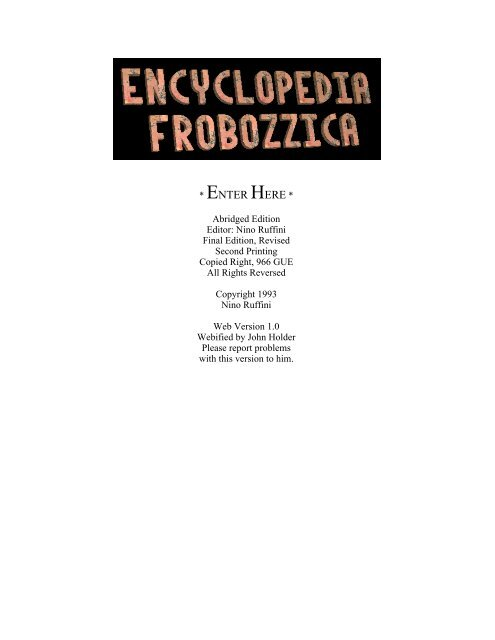 encyclopedia frobozzica
