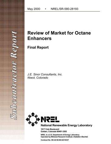 Review of Market for Octane Enhancers - NREL