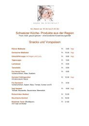 Schweizer Küche- Produkte aus der Region Snacks und Vorspeisen