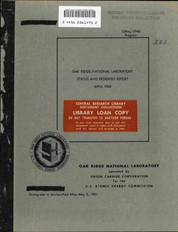 Oak Ridge National Laboratory status and progress report April 1960