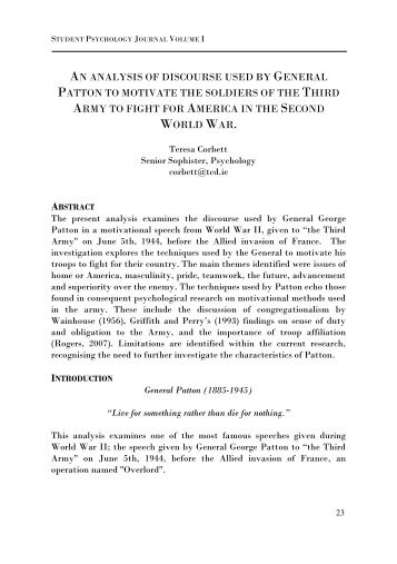 AN ANALYSIS OF DISCOURSE USED BY GENERAL PATTON TO ...