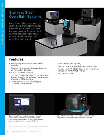 PolyScience Stainless Steel Open Baths Datasheet PDF - Instrumart