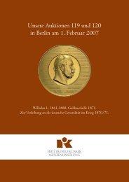 Unsere Auktionen 119 und 120 in Berlin am 1. Februar 2007