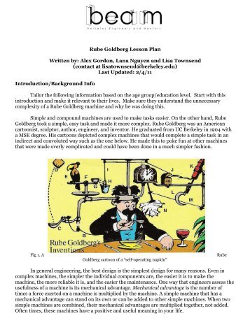 Rube Goldberg Lesson Plan Written by: Alex Gordon, Lana ... - BEAM