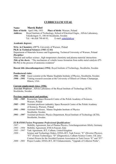 Curriculum Vitae Marek Rubel School Of Electrical Engineering