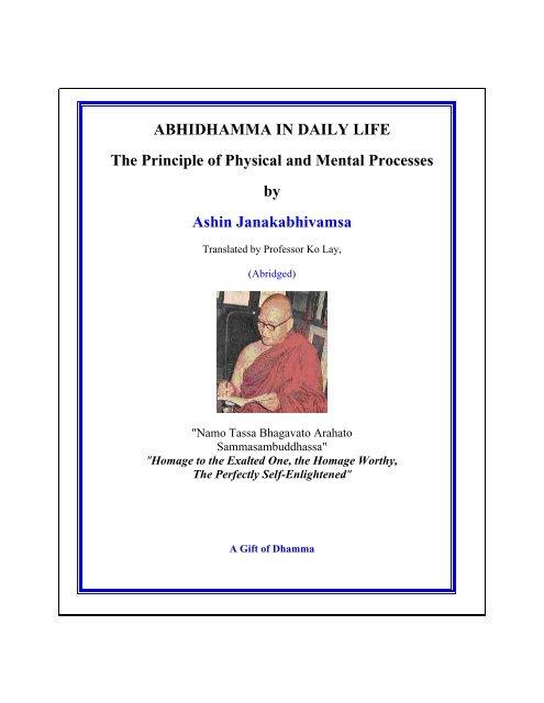 Abhidhamma In Daily Life Pdf