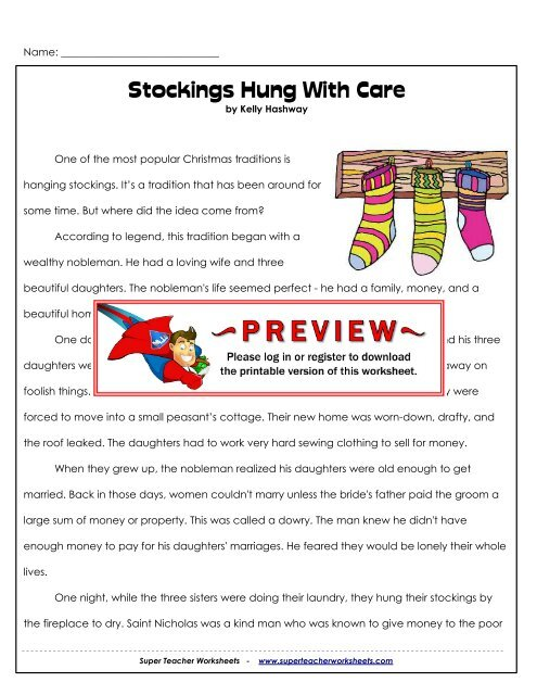 Stockings Hung With Care - Super Teacher Worksheets