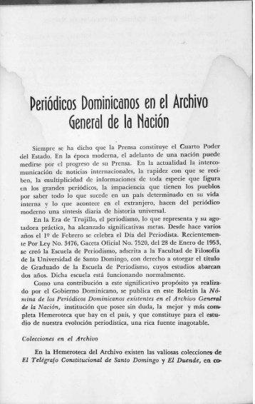 Periódicos Dominicanos en el Archivo General de la Nación - BAGN