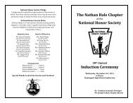 The Nathan Hale Chapter National Honor Society Induction Ceremony