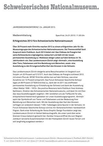 Medienmitteilung Erfolgreiches 2012 fürs Schweizerische ...