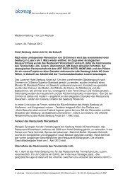 frei zum Abdruck Luzern, 24. Februar 2012 Hotel Seeburg rüstet ...