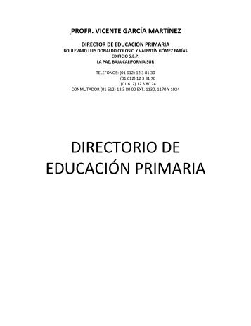 DIRECTORIO DE EDUCACIÓN PRIMARIA - Secretaria de ...