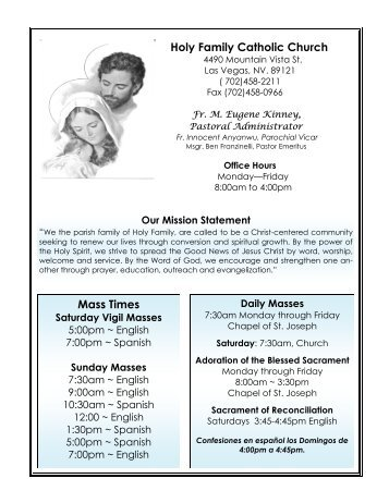 Holy Family Catholic Church Mass Times - Diocese of Las Vegas