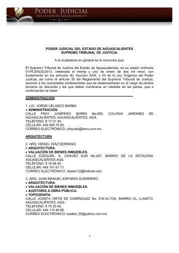Lista de Peritos 2013 - Poder Judicial de Estado de Aguascalientes