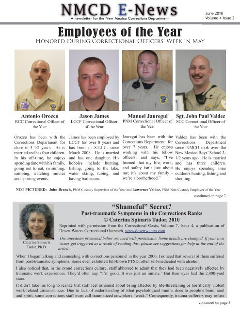 NMCD E-News - New Mexico Corrections Department