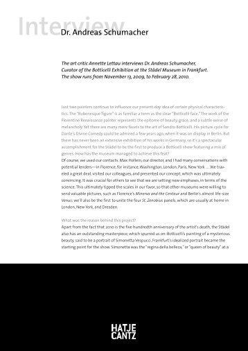 Interview als PDF-Dokument - Hatje Cantz Verlag