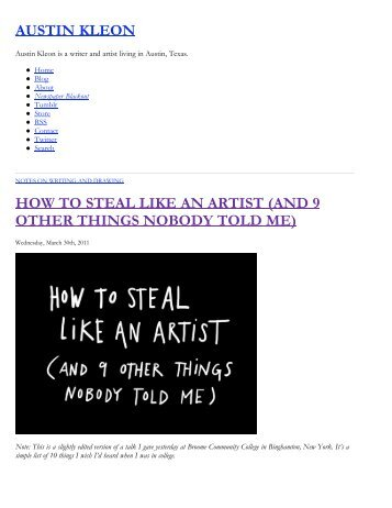 How To Steal Like An Artist (And 9 Other Things Nobody Told Me ...