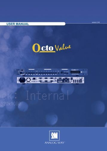 Octo Value - OXE831 User Manual (PDF) - Analog Way