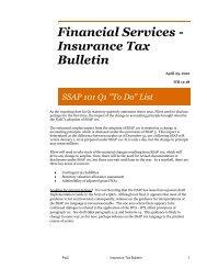 Financial Services - Insurance Tax Bulletin - PwC