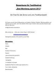 Bewerbung für Textilfestival - Staatsbad Meinberg