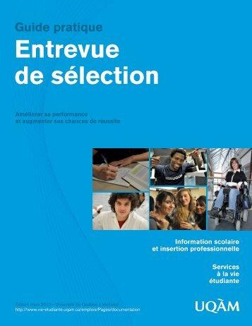 Entrevue de sélection Guide pratique - UQAM