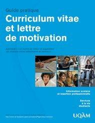 Curriculum vitae et lettre de motivation Guide pratique - UQAM