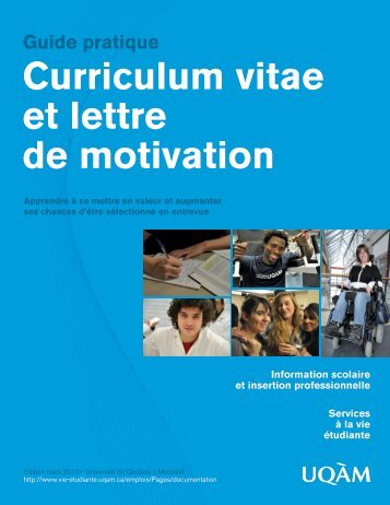 Curriculum vitae et lettre de motivation Guide pratique - UQAM