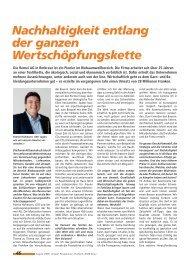 Nachhaltigkeit entlang der ganzen Wertschöpfungskette - Remei AG