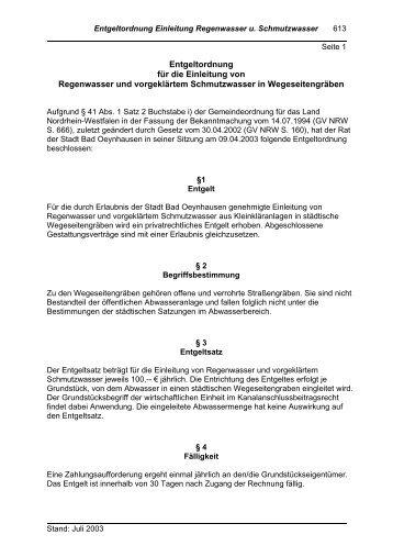 Entgeltordnung Einleitg.v.Regenwasser u ... - Bad Oeynhausen