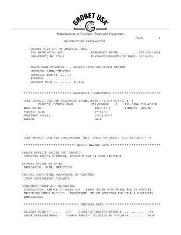 8u page 1 manufacture information grobet file co. of ... - Esslinger.com