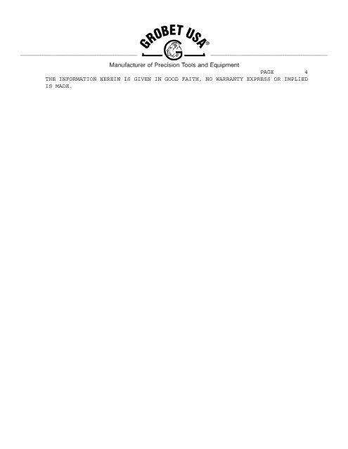 8u page 1 manufacture information grobet file co. of ... - Esslinger.com